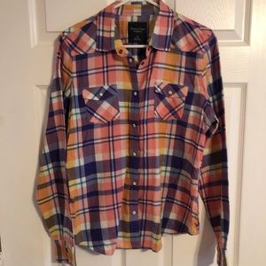 American Eagle Plaid Button-Up